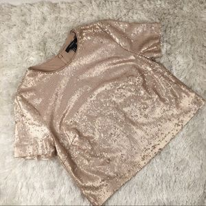 Blush Pink Tan Sequin Crop Top Sz Small
